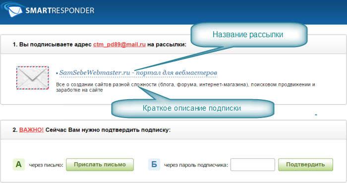 Smartresponder - Подтверждение подписки