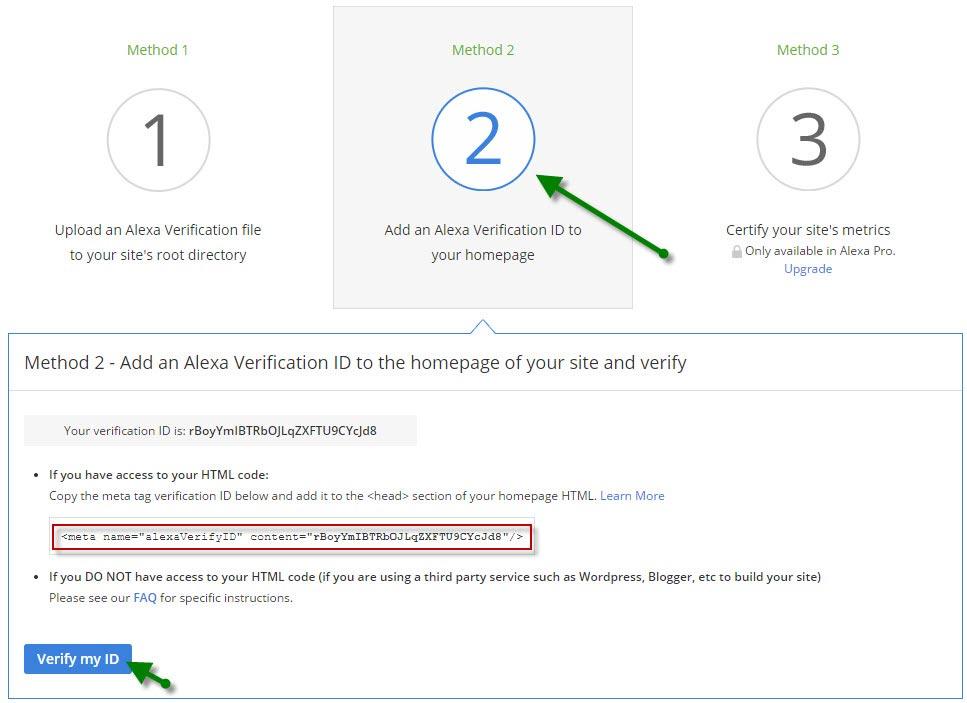 Подтверждение прав на сайт в сервисе-Alexa с помощью мета-тега