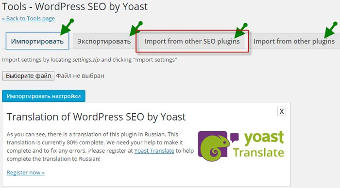 WordPress SEO by Yoast импорт данных
