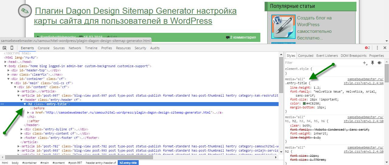 Окно просмотра HTML и CSS кода сайта