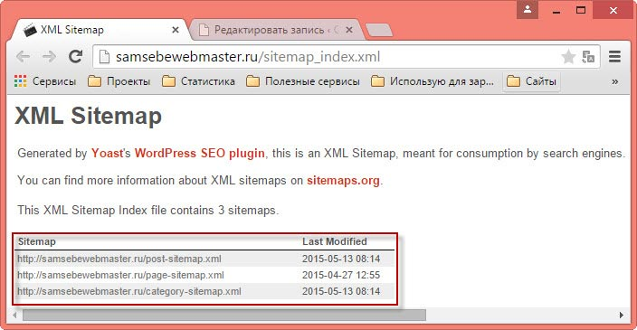 XML карта сайта WordPress SEO by Yoast